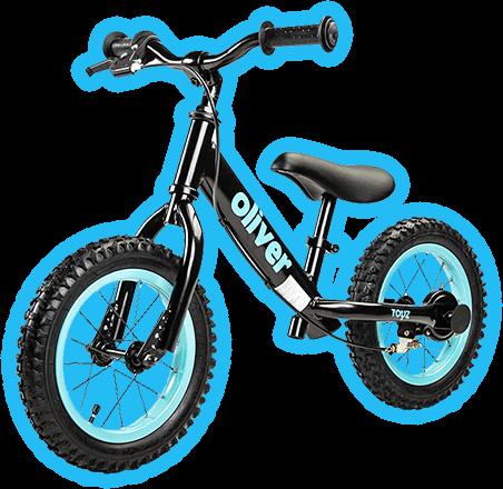 metalowy rowerek z niebieską poświatą